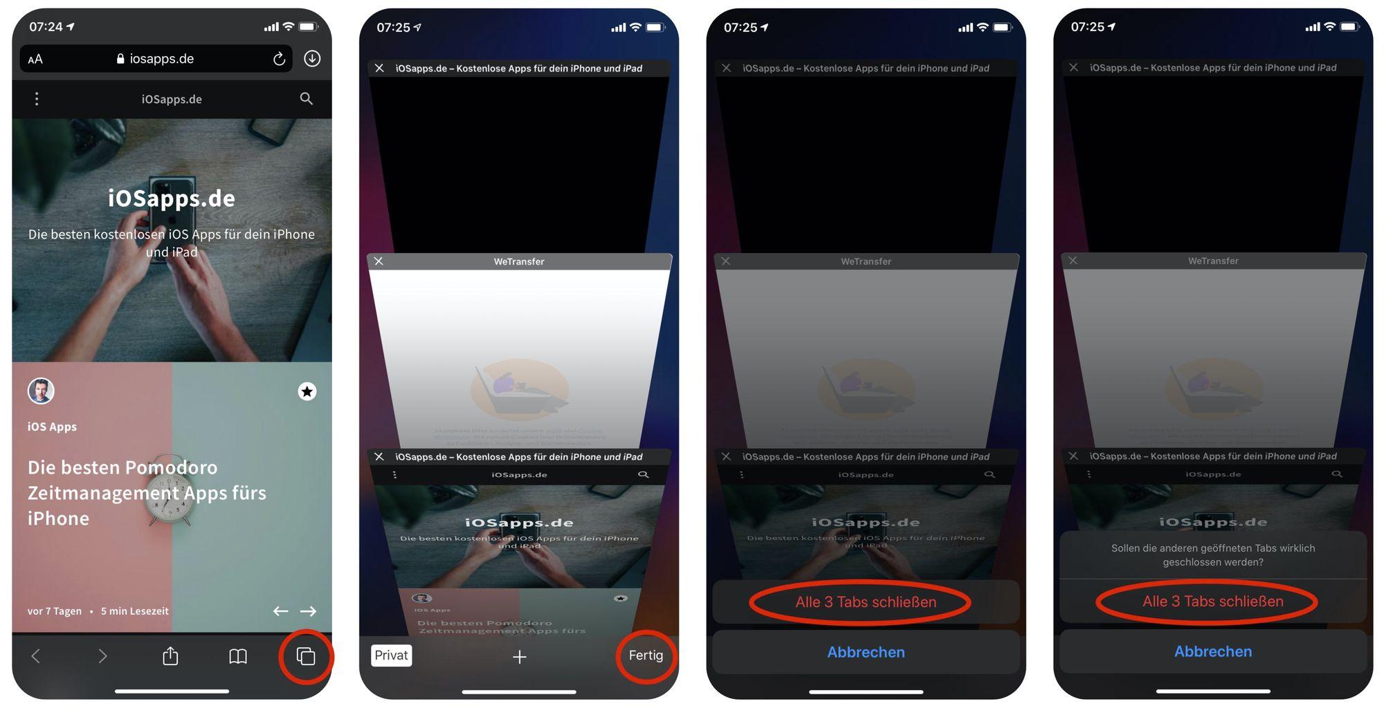Alle Tabs in Safari auf dem iPhone schließen Anleitung