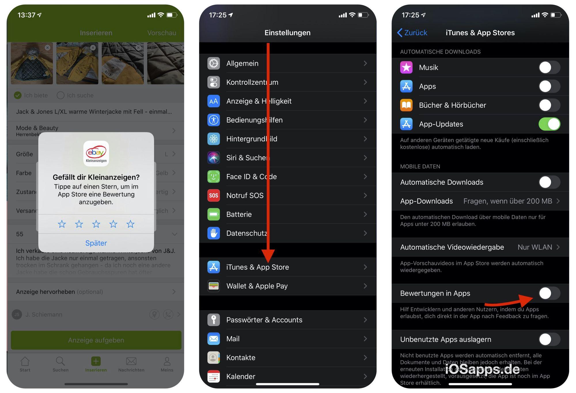 Schritt für Schritt Anleitung zum Deaktivieren der App Store Bewertungs Popups