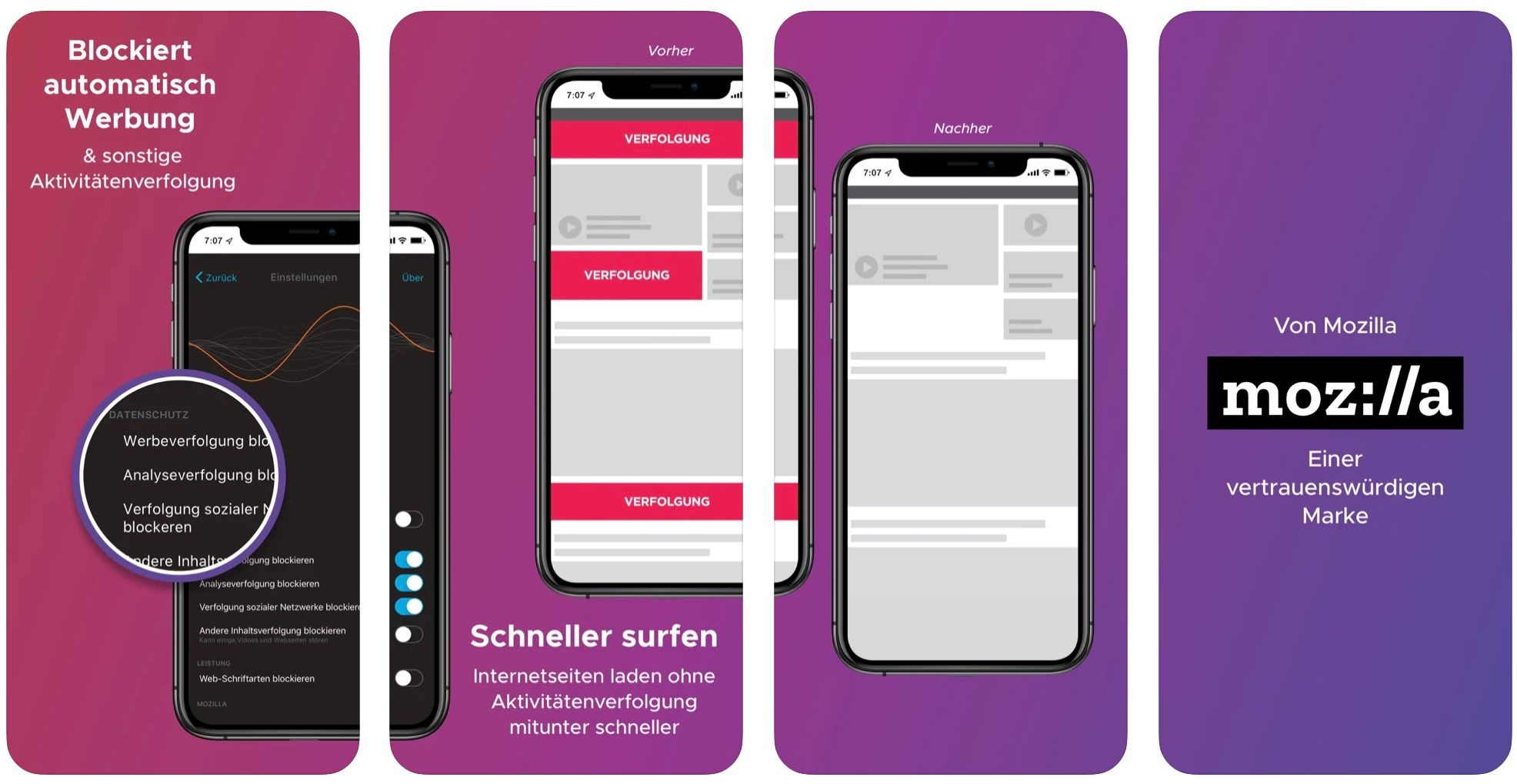 Firefox Klar iPhone App Screenshots