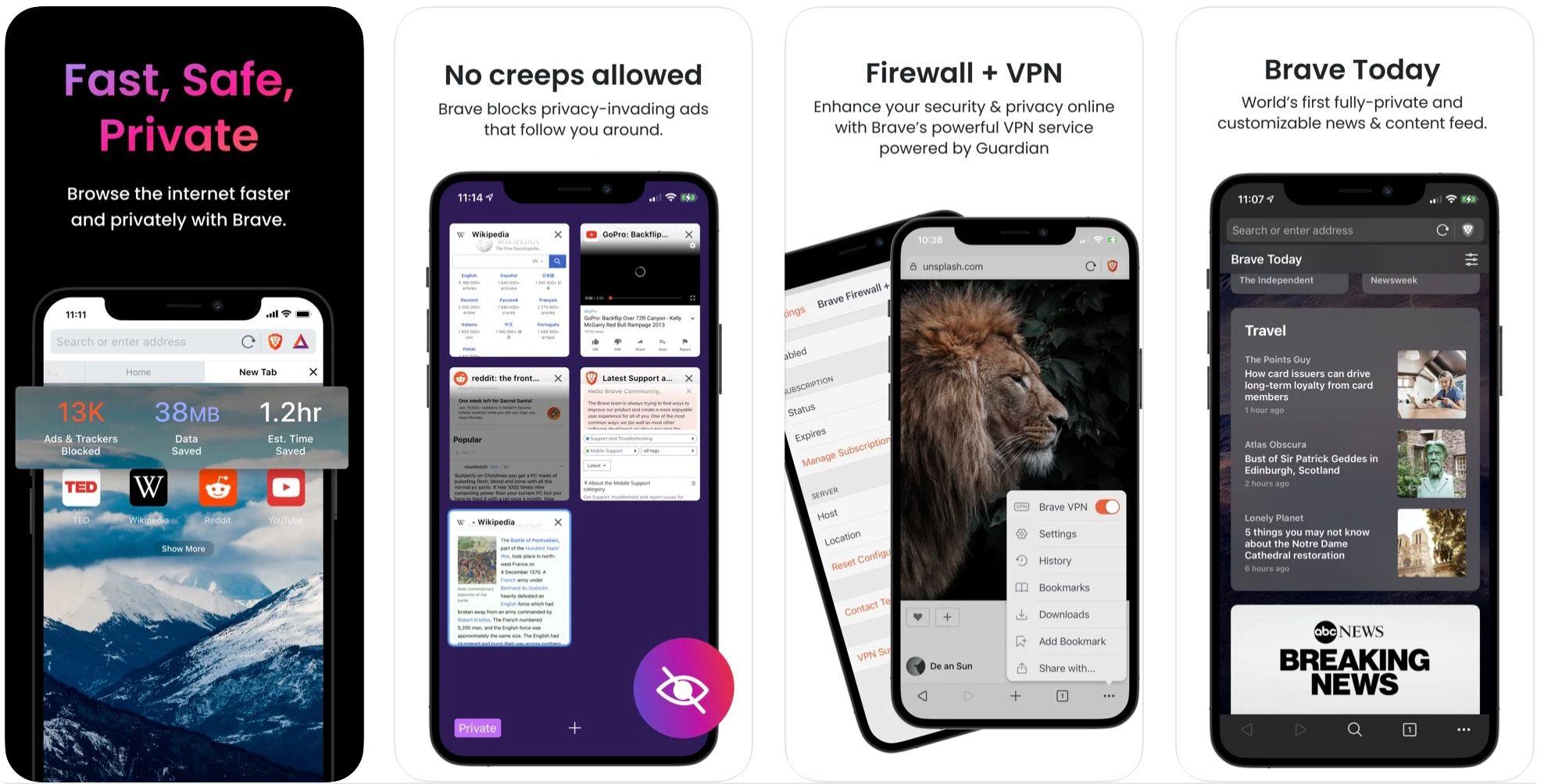Brave Browser iPhone App Screenshots
